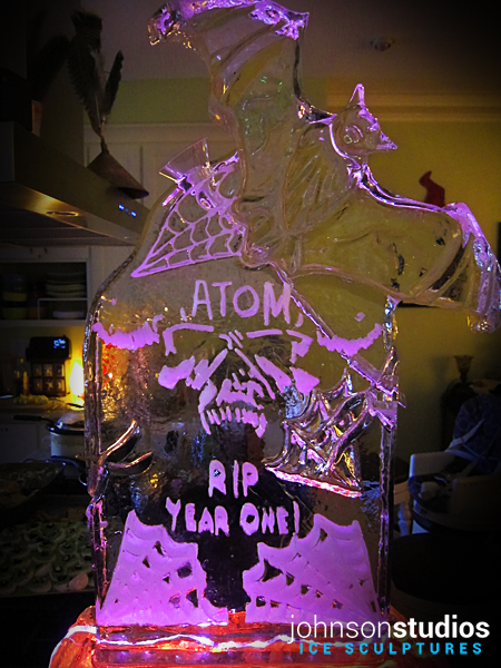 Birthday Halloween Bat Tombstone Ice Sculpture Luge