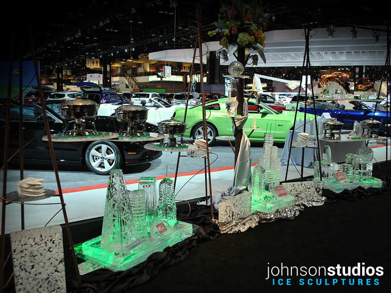 Chicago Auto Car Show Expo Skyline Ice Sculpture