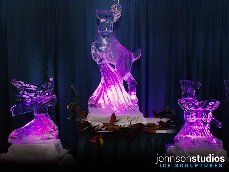 Mothers Day Holiday Deer Butterfly Ice Sculpture