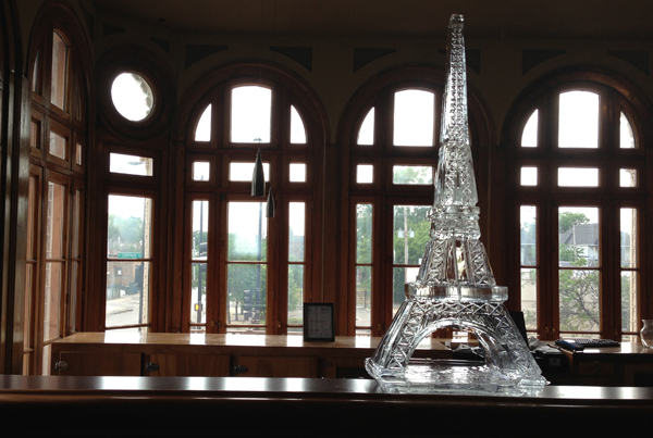 Chicago Wedding Eiffel Tower Ice Sculpture Display