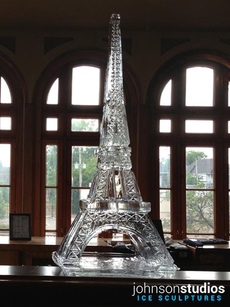 Chicago Wedding Eiffel Tower Ice Sculpture Display