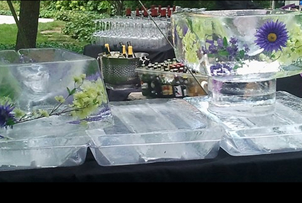 Chicago Wedding Floral Serving Trays Ice Sculpture