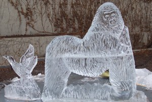 Outdoor Chicago Zoo Gorilla Animal Ice Sculpture
