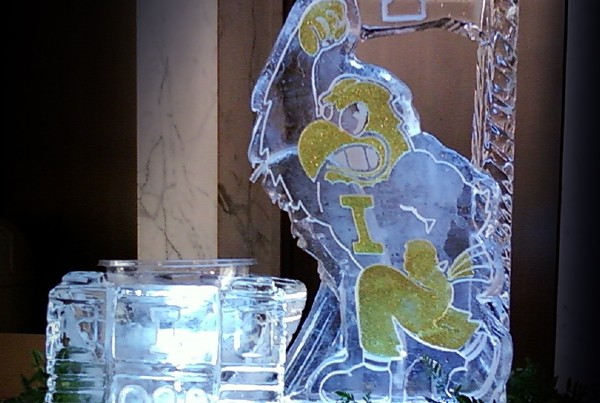 Football Illinois Bird Ice Sculpture Luge Fountain