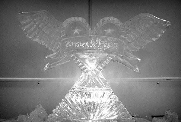 Chicago Wedding Heart Wings Ice Sculpture