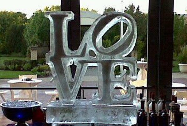 Chicago Wedding Love Logo Ice Sculpture Columns
