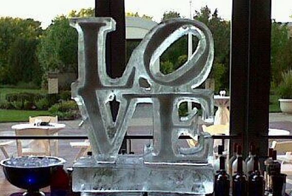 Chicago Wedding Love Logo Ice Sculpture Columns