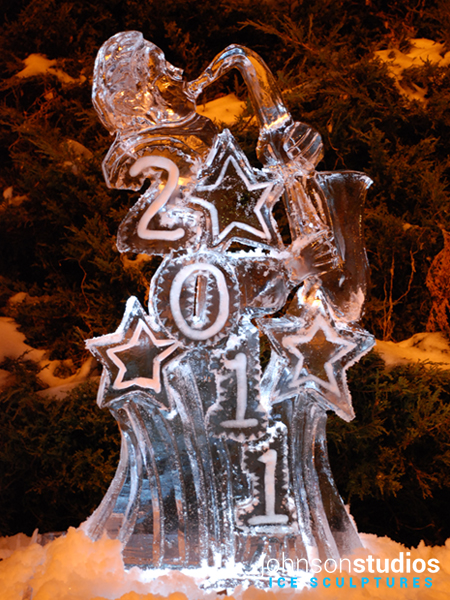 Chicago New Years Eve Holiday Sax Ice Sculpture