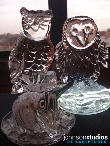 Owls Chicago Wedding Ice Sculpture Display