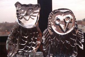 Owls Chicago Wedding Ice Sculpture Display