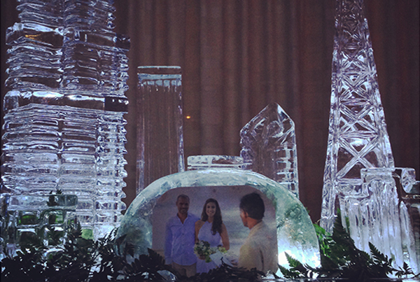 Chicago Skyline Wedding Ice Sculpture Display