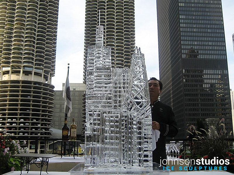 Chicago Skyline Outdoor Wedding Ice Sculpture