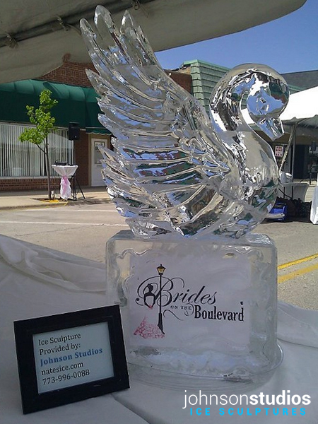 Chicago Wedding Bridal Event Swan Ice Sculpture